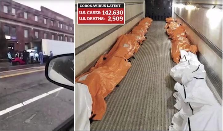 VIDEO  Trupat e viktimave nga koronavirusi ngarkohen në kamionë frigorifer jashtë spitaleve në New York